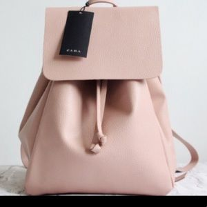 Zara | NWT Blush Pink Backpack With Fold Over Flap
